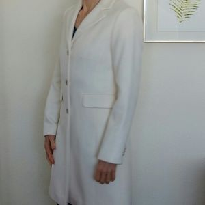J. Crew ivory knee length wool/cashmere blend coat